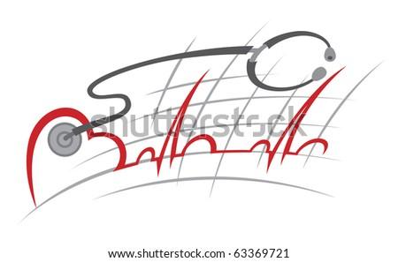 illustration of electrocardiogram and stethoscope