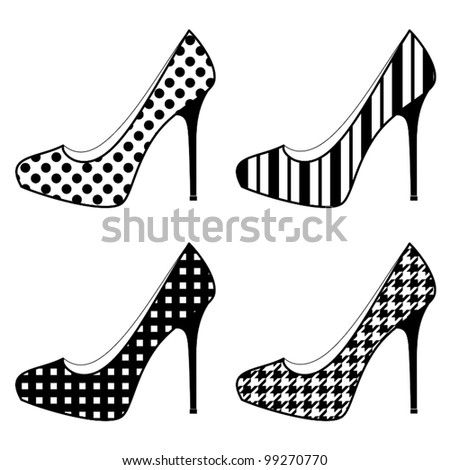 Illustration of elegant female shoes in black and white.