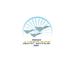 illustration of elements of Indian Airforce Day Background. RAFALE- FIGHTER JET OF INDIAN AIRFORCE.