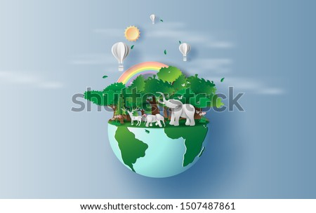 illustration of elephants in forest,Creative Origami design world environment and earth day paper cut and craft concept.Landscape Wildlife animal with Deer in nature by rainbow and balloons.vector.