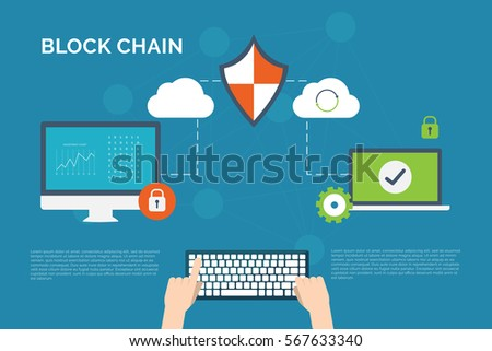 Illustration of encryption and decryption technology background. Concept of block chain technology illustrated to information security.