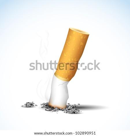 illustration of end of burning cigarette on white background