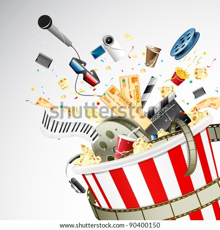 illustration of entertainment object popping out of popcorn bucket stock photo