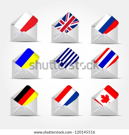 Illustration of envelope with flags #120145516