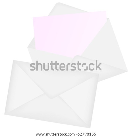 Illustration of Envelopes - Open and Closed - Isolated on White