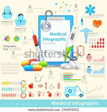illustration of equipment and medicine in medical infographic