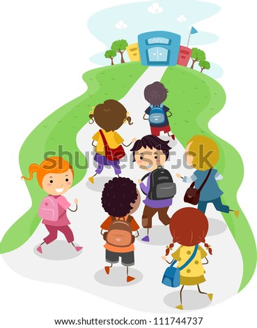 illustration of excited kids on