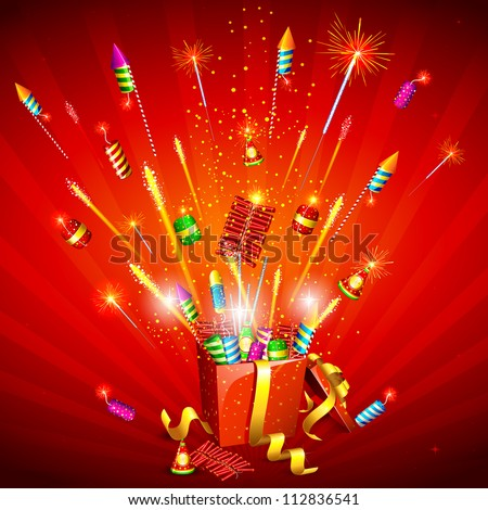 illustration of explosion of firecracker from gift box