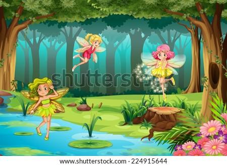 stock vector illustration of fairies flying in the jungle 224915644 - Каталог — Фотообои «Для детской»