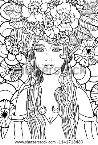 stock-vector-illustration-of-fairy-with-long-hair-in-elegant-dress-surrounded-by-primula-flowers-and-leaves