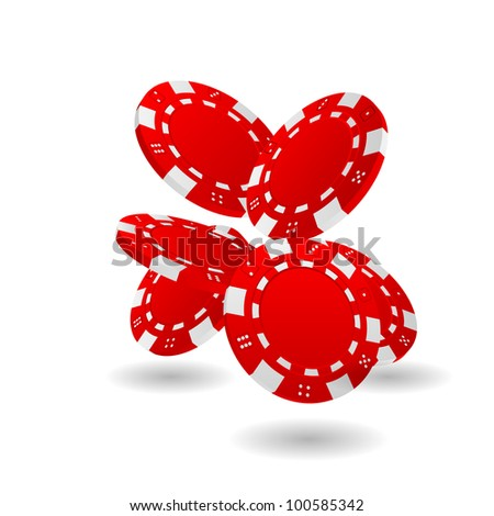 Illustration of Falling Red Poker Chips Isolated on White
