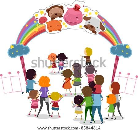 Illustration of Families Entering a Theme Park