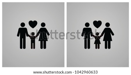 Illustration of Family Icon with Parents, Daughter and Son