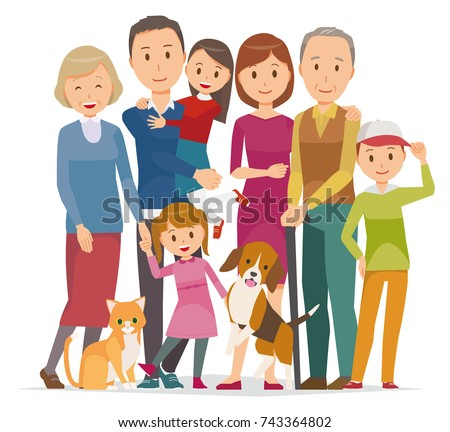 Illustration of family - 7 people of 3 generations and pet in winter