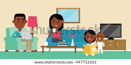 Illustration Of Family Relaxing At Home Together