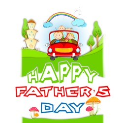 illustration of family traveling in car on Father's Day
