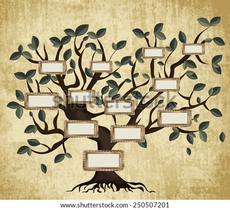 Illustration of family tree on aged paper. Vector eps10.