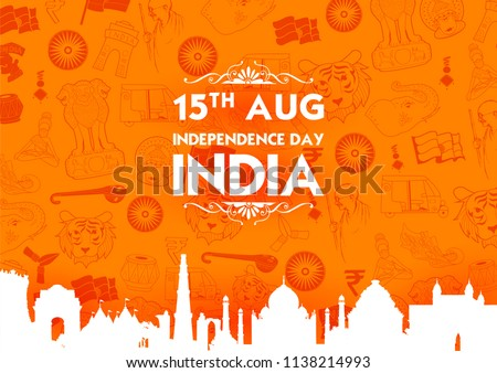 illustration of Famous Indian monument and Landmark for Happy Independence Day of India for Happy Independence Day of India