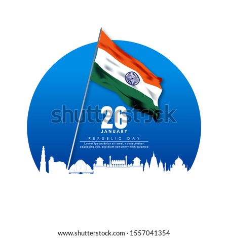 illustration of Famous Indian monument and Landmark for republic Day of India.26 January
