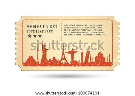 illustration of famous monument around the world on ticket - stock vector