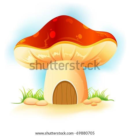 illustration of fantasy mushroom home in garden