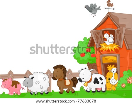 Illustration of Farm Animals walking to the left