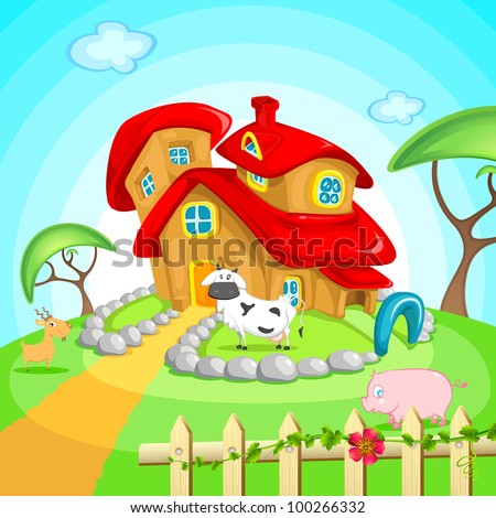 illustration of farm house with pet animals in garden