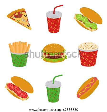 illustration of fast food: pizza, hamburger, sandwich, hot dog, popcorn, french fries, drink