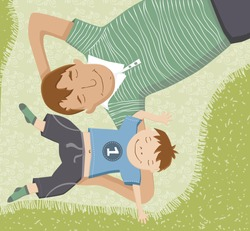 Illustration of father and son lying down on blanket having fun.