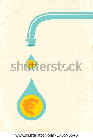 illustration of faucet and money
