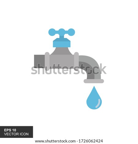 Illustration of faucets and water drops on a white background. Photo stock ©