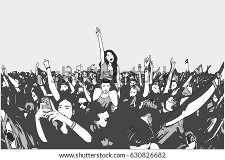 Illustration of festival crowd at concert in grey tones