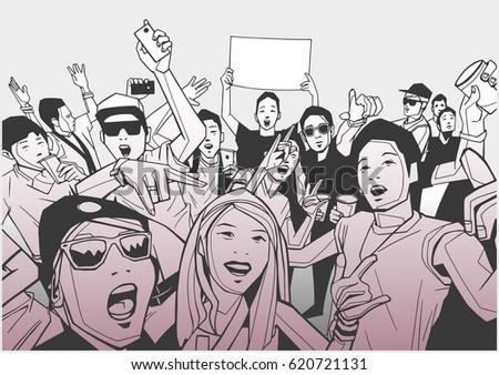illustration of festival crowd