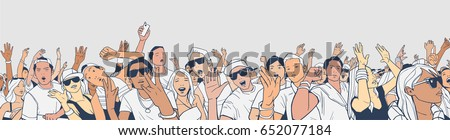 Illustration of festival crowd having fun at concert in panorama view with detail ストックフォト ©