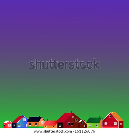 Illustration of few little colored houses