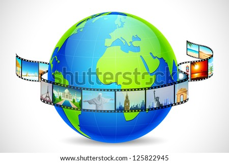 illustration of film reel of world famous monuments around globe