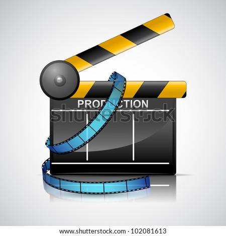 illustration of film reel with clapper board on cinema background
