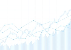 Illustration of financial chart of growing and falling market. Blue display of trend index on white background - vector
