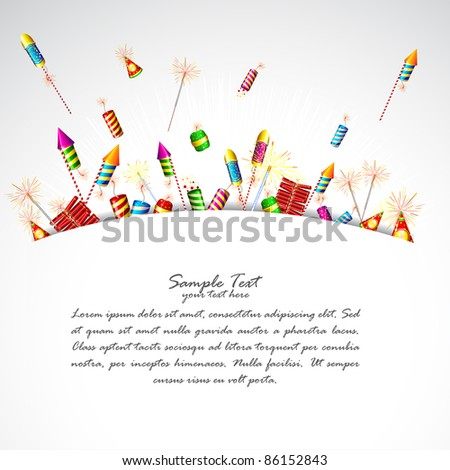 illustration of firecracker poping out in abstract background