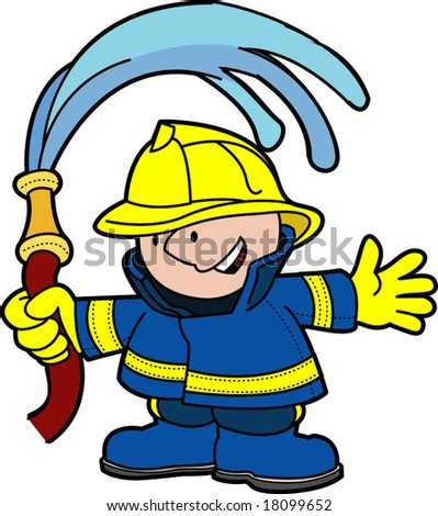 illustration of fireman holding