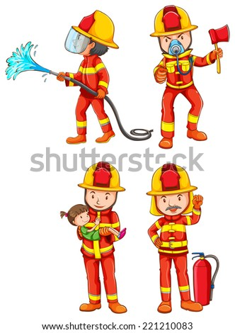 illustration of fireman with