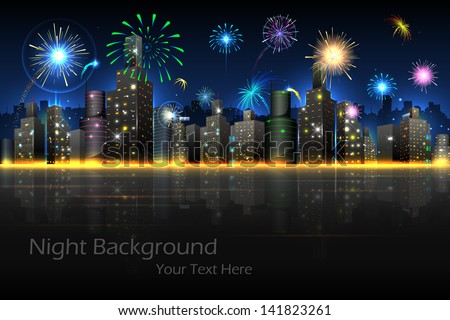 illustration of firework in night view of city