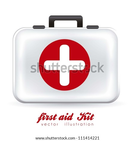 illustration of first aid kit white, vector illustration