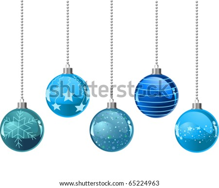 Illustration of Five different color Christmas balls