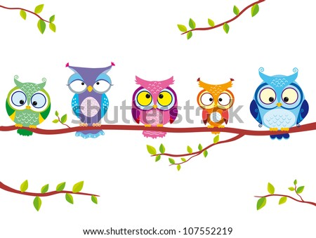 illustration of five different funny owls sitting on a branch