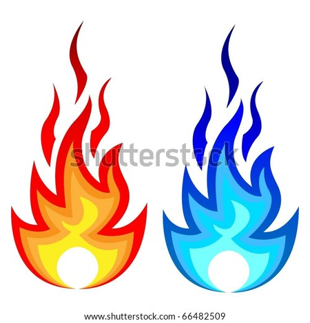 Illustration of flame fire and gas flame. Vector.
