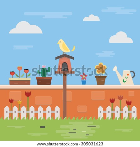 illustration of flat design on the wall and garden objects. with flowers, bird and blue sky