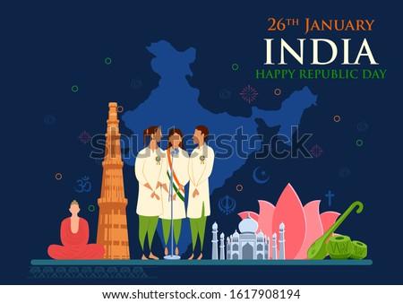 illustration of flat minimal simplistic background for 26 January Happy Republic Day of India Photo stock ©
