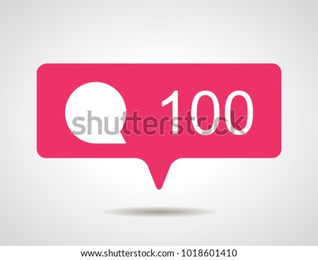 illustration of flat pink hundred like comment social media icon on grey background