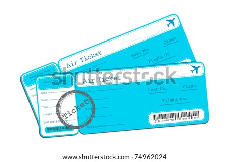 illustration of flight ticket on isolated background